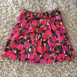 Red and pink rose print cotton skirt